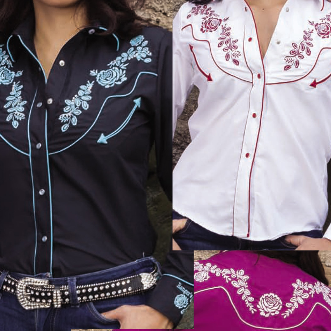 canada usa international quality fit style comfort guaranteed modestone  western country cowboy embroidered shirt rhinestone floral poly cotton long short sleeve checked non shrink kids women men cowgirl polycotton rodeo equestrian line dancing horse riding Rodeo, Bulls tack dude ranch cuff yoke fashion accessories distributor wholesale retail