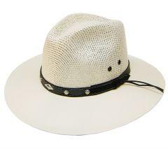Modestone Straw Cowboy Hat White