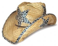 Modestone Men's Straw Cowboy Hat O/S Beige With Leopard Print Fabric