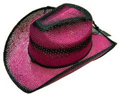 Modestone Women's Ladies Straw Breezer Cowboy Hat Fuchsia