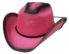 Modestone Girl's Straw Cowboy Hat Chinstring Fuchia Black Accents