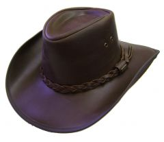 Modestone Men's Glossy Covver Concho Hatband Oiled Leather Cowboy Hat
