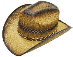 Modestone Men's Straw Cowboy Hat Beige Black