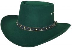 Modestone Unisex Gambler Faux Felt Cowboy Hat Green