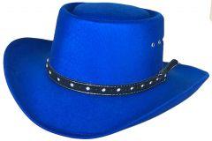 Modestone Unisex Gambler Faux Felt Cowboy Hat Blue