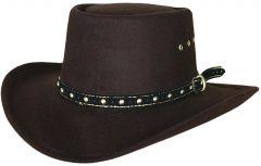 Modestone Unisex Gambler Faux Felt Cowboy Hat Brown