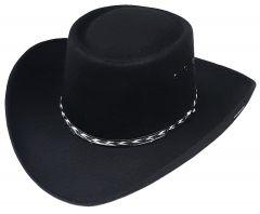 Modestone Unisex Gambler Faux Felt Cowboy Hat Black