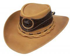Modestone Men's Leather Cowboy Hat Leather Crocodile Skin Pattern Applique Tan