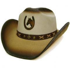 Modestone Men's Straw Cowboy Hat Horseshoe & Horse Head Beige & Light Beige