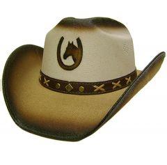 Modestone Boy's Straw Cowboy Hat Horseshoe & Horse Head XS Beige & Light Beige