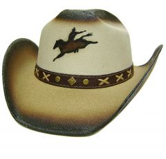 Modestone Boy's Straw Cowboy Hat With Bucking Bronco XS Beige & Light Beige