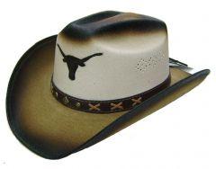 Modestone Men's Straw Cowboy Hat toro bull head Beige & Light Beige