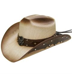Modestone Men's Straw Cowboy Hat Metal Bull Skull & Feathers Concho Studs Hatband Tan