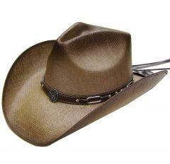 Modestone Men's Straw Cowboy Hat Metal Longhorn Bull Head Concho & Chain Links Hatband Brown