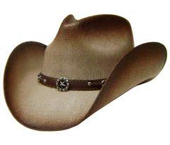 Modestone Straw Cowboy Hat Metal Texas Sheriff Star Concho & Chain Links Hatband