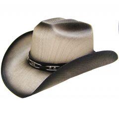 Modestone Men's Straw Cowboy Hat Metal Concho & Studs Hatband Black