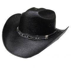 Modestone Boy's Straw Cowboy Hat Black ''Sizes For Small Heads''