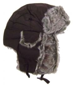 Modestone Warm Trapper Bomber Hat Faux Fur Trim o/s Chocolate Brown