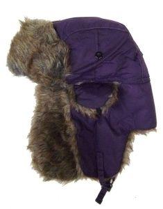 Modestone Warm Trapper Bomber Hat Faux Fur Trim o/s Purple