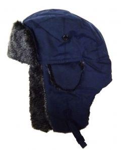 Modestone Warm Trapper Bomber Hat Faux Fur Trim o/s Blue
