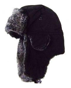 Modestone Warm Trapper Bomber Hat Faux Fur Trim o/s Black
