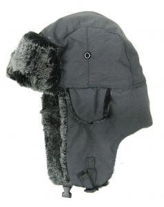 Modestone Warm Trapper Bomber Hat Faux Fur Trim o/s Dark Grey