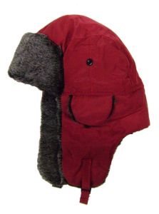 Modestone Warm Trapper Bomber Hat Faux Fur Trim o/s Red