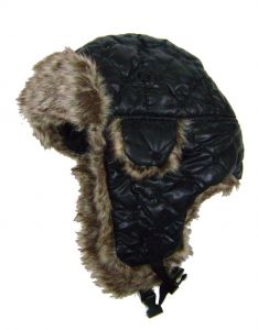 Modestone Quilted Warm Trapper Bomber Hat Grey Faux Fur Trim o/s Black