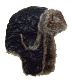 Modestone Quilted Warm Trapper Bomber Hat Brown Faux Fur Trim o/s Black