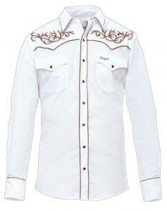 Modestone Men's Embroidered Long Sleeved Shirt Filigree Longhorn Bull White