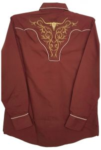 Modestone Men's Embroidered Fitted Western Shirt Filigree Longhorn Bull Brown