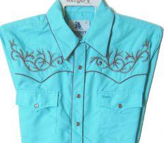 Modestone Men's Embroidered Long Sleeved Shirt Filigree Longhorn Bull Turquoise
