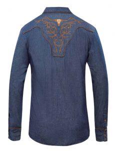 Modestone Men's Embroidered Long Sleeved Shirt Filigree Longhorn Bull Blue