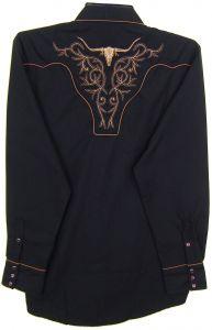 Modestone Men's Embroidered Long Sleeved Shirt Filigree Longhorn Bull Black