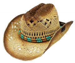Modestone Men's Straw Cowboy Hat Beige