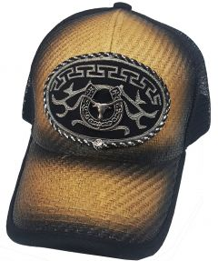 Modestone Western Snapback Ball Cap Metal Bull Longhorn Horseshoe