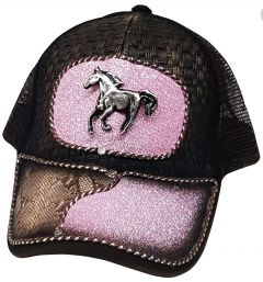 Modestone Western Snapback Ball Cap Glitter Metal Horse ''Faux Snakeskin'' Pink
