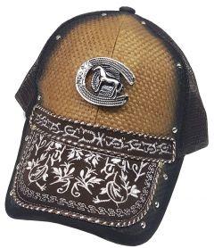 Modestone Western Snapback Ball Cap Metal Horseshoe Horse Embroidered Peak