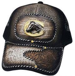 Modestone Western Snapback Ball Cap Metal Horseshoe Horse ''Faux Crocodile''