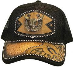 Modestone Western Snapback Ball Cap Metal Bull Skull Horseshoe ''Faux Ostrich''