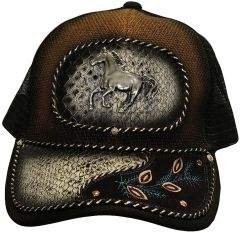 Modestone Western Snapback Ball Cap Metal Galloping Horse ''Faux Crocodile''