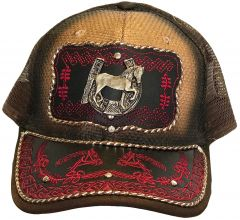 Modestone Western Snapback Ball Cap Metal Horseshoe Horse Embroidered Red