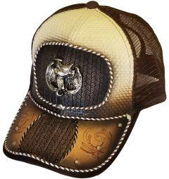 Modestone Western Snapback Ball Cap Metal Saddle Horseshoe