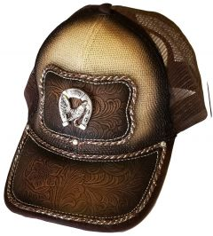 Modestone Western Snapback Ball Cap Metal Horseshoe