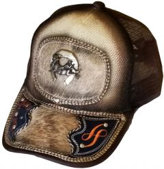 Modestone Western Snapback Ball Cap Metal Bull Rider Horseshoe ''Faux Hair-On''