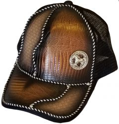 Modestone Western Snapback Ball Cap Metal Running Horse ''Faux Snake Skin''