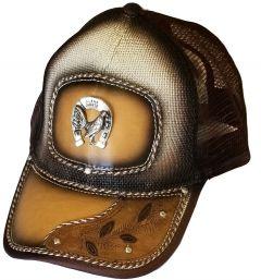 Modestone Western Snapback Ball Cap Metal Horseshoe ''Faux Leather''