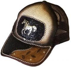 Modestone Western Snapback Ball Cap Metal Running Horse Sparkle Black