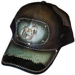 Modestone Western Snapback Ball Cap Metal Horseshoe Horse Blue Sparkle