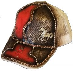 Modestone Western Snapback Ball Cap Metal Running Horse ''Faux Snake Skin'' Red